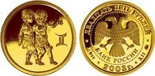 25 Rubel Russland St 1/10 Oz Gold 2003 Zodiac / Gemini Twins Zwillinge 雙胞胎 Unc