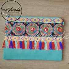 Teal Turquoise Embellished Clutch Shoulder Bag Boho Bohemian Ladies Gift Tassel
