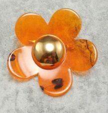 VTG Faux Tortoise Shell Flower Pin Brooch Bakelite? Lucite? Great Color