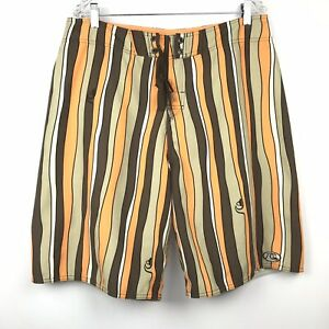 QUIKSILVER EDITION Mens Board Shorts 36 Surf Swimming NEW Striped Brown Orange