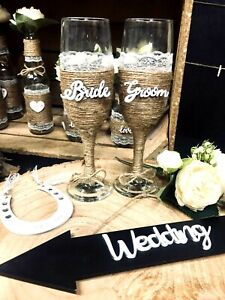 Wedding Mr & Mrs Rustic Boho Style Champagne Glasses Groom & Bride