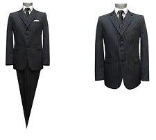 Herren Anzug gestreift 3-teilig Muga Gr.60 Schwarz