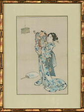 Late 19th Century Japanese Woodblock - Geisha, Child And Their Cricket Cage