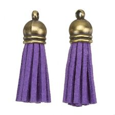 Suede Tassel Charms with Bronze Cap for Jewellery & Crafts Purple 36mm (H20/5)