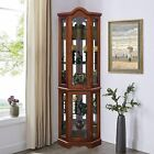 Lighted Corner Curio Cabinet - 5-Tier Glass Wood Liquor Cabinet with Shelves