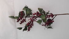 "29"" LATEX BURGUNDY BERRY  SPRAY~  XMAS WREATH,CRAFTS,TREES"