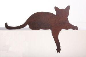 Kantenhocker Katze Edelrost Pfote nach unten Garten Deko