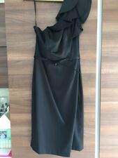Black One Shoulder Satin Cocktail Dress.  Size 8. RRP £75
