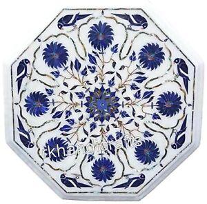Exklusives Design Eingelegt Seite Tisch Top Weiß Marmor Kaffeetisch Größe 35.6cm