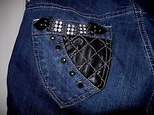 """Southpole Jeans Co.""""Gemstone & Leather"""" Bling Jeans-size 18"""