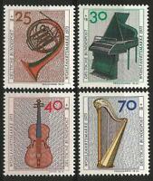 Germany 1973 MNH Musical Instruments Piano Violin Harp Horn Mi-782/85 SG-1674/77