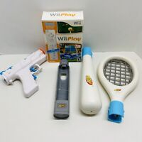 Wii Play And Nintendo OEM Wii Remote Controller & Nunchuck + Extras - Sanitized