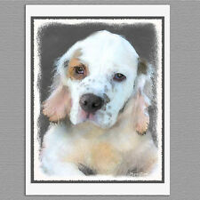 6 Clumber Spaniel Dog Blank Art Note Greeting Cards