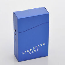 Flip up CIGARETTE BOX . . . Blue Aluminium metal cigaret case gift casse cigeret