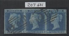 Vic - 1841. 2d Franja Azul X 3. es14i Usado Variedad de placa + RPS Cert.