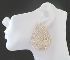"Big Gold Rhinestone Teardrop Shaped Clip On Earrings, 2""  Basketball Wives Style"