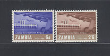 ZAMBIA 1967 Airport Sc 32-33  Cplte Mint Very Lightly Hinged