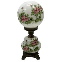 Gone With The Wind Parlor Lamp Hand Painted Floral 3 Way Pink White