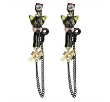 E237 BETSEY JOHNSON Black Standing Kitten Kitty Tabby Black Cat Earrings UK