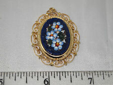 "Vintage ""ITALY"" Glass Chips MICRO MOSAIC Flowers Filigree Pendant NICE!"