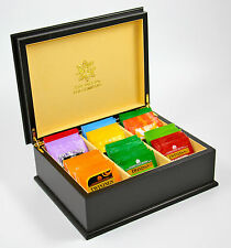 ITC Black Premier Cream Velvet 6 Comp Wooden Tea Chest Box 60 TwiningsTea Bags