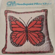 Columbia MInerva Pillow Monarch Butterfly Needlepoint Kit Orange Open Package