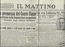 IL MATTINO 30 APRILE 1940 FAC SIMILE ALLEGATO GIORNALI DI GUERRA FASCISMO