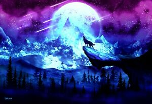 Fantasy Wolf - Moon Mountain Landscape Wall Art Large Poster & Canvas Pictures