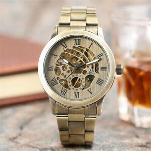 SHENHUA Roman Numbers Stainless Steel Band Men Self-Wind Mechanical Wrist Watch