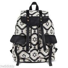Women's Diamond Print Fabric Backpack Handbag with Black Detail - Black & Tau...