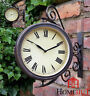 Outdoor Garden wall Station Clock & Temperature with Bracket, swivels 32cm
