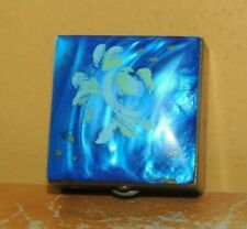Vintage Pill Box goldtone blue mother of pearl lid Lucite Bakelite Catalin mop