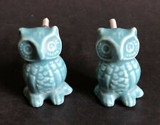 PAIR OF CERAMIC TEAL BLUE OWL SHAPED DRAWER KNOBS Pulls Handles w/ Nuts & Bolts