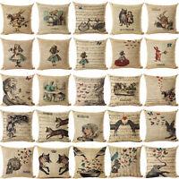 18'' Alice in Wonderland Cotton Linen Cushion Cover Pillow Case Home Decor