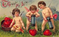 Valentine Postcard Cupid Cherub Angels Making/Stamping Out Hearts~109561