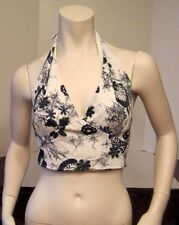 Vintage Authentic 1970's White Black Floral Halter Top, Size Small/Medium, Retro