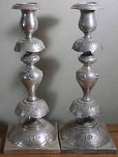 1875-1901 Norblin Silverplate Shabbat Candlesticks bobeche, Warszawa, Poland