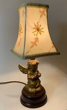 Vintage Praying Angel/Cherub Accent Lamp With Embroidered Silk Shade
