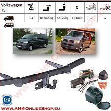 Gancio traino fisso Volkswagen T5 2003-   + kit elettrico 13-poli con centralina