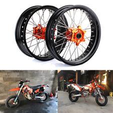 "KTM Supermoto 17"" & 17"" Complete Wheel Set SX SXF EXC 125-530 03-14 Orange Hub"