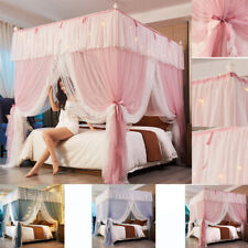 luxury 4 Corner Double Net Bed Netting Canopy Mosquito Priceness Curtain + Led