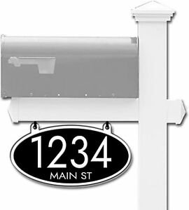 Curb-N-Sign®, Hanging House Mailbox Address Numbers Sign, Oval, Reflective