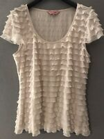 Phase Eight Ivory/Cream Frill Top Size 14 Stretch Smart Casual