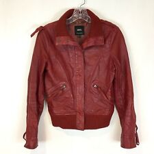 MNG By Mango Womens XS Red Distressed Genuine Leather Jacket Bomber Knit Collar