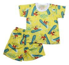 Surfing Sponge Bob Shirt & Short Set Pajama Boys Toddler/Kids Sleepwear, L (5-6)