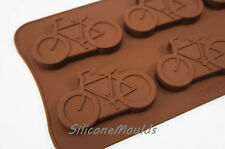 6 cell LARGE Bicycle Cycling Chocolate Candy Silicone Bakeware Mould Cookie Soap