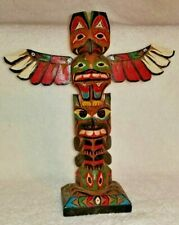 """Eric Williams Victoria BC Canada Hand Carved Wood Totem Pole 9 1/4"""" Tall 1981"""