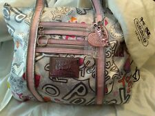 COACH Poppy Graffiti Hearts Sateen Metallic Trim Glam Tote Shopper Bag RARE