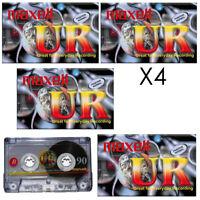 GENUINE 4X MAXELL UR90 AUDIO TAPE 90 MIN BLANK MEDIA AUDIO RECORD CASSETTE TAPES