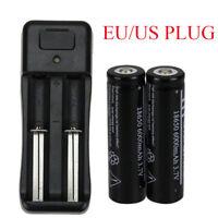 2X 18650 6000mAh UltraFire 3.7V Li-ion Rechargeable Battery&Charger US/EU Plug